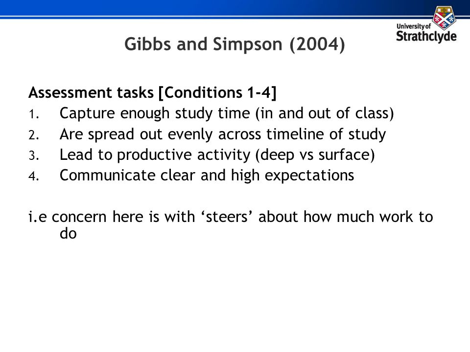 Gibbs and Simpson (2004) Assessment tasks [Conditions 1-4]